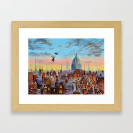 Mary Poppins flying above the rooftops of London Framed Art Print