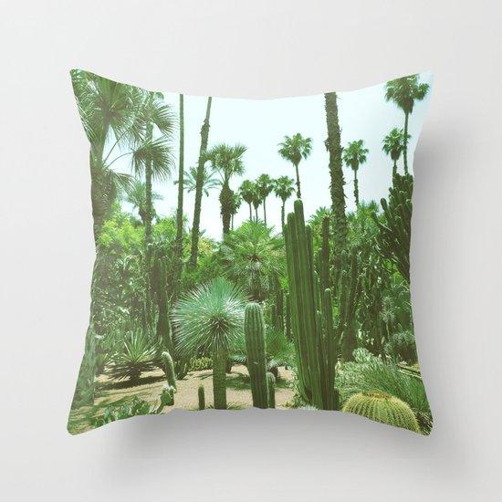 Tropical Cacti Gardens Throw Pillow