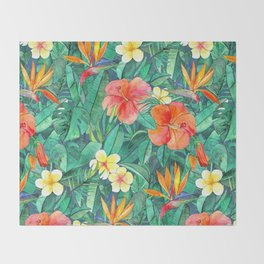 Classic Tropical Garden Throw Blanket