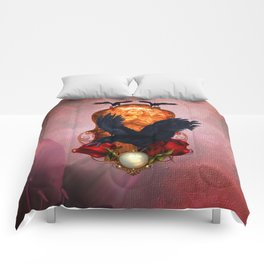 Wonderful crows with roses Comforters