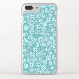Artistic hand painted pastel teal white snow flakes pattern Clear iPhone Case