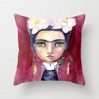 jane davenport Throw Pillows featuring Little Frida by Jane Davenport by Jane Davenport