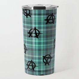 aqua  plaid anarchy Travel Mug