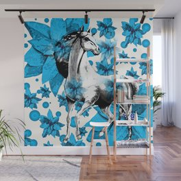 HORSE AND FLOWERS Wall Mural