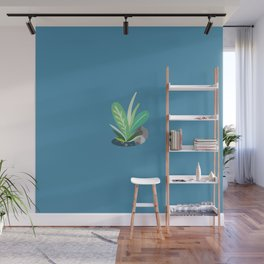 Pastel Plant (Blue) Wall Mural