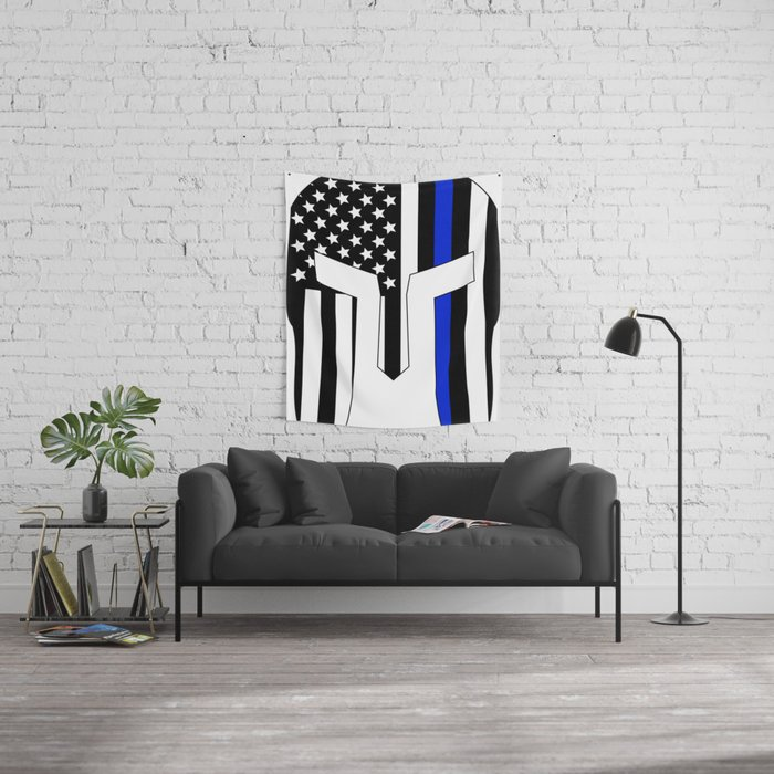 Spartan Helmet USA Flag Thin Blue Line Wall Tapestry