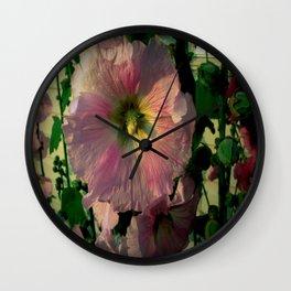 Pretty Hollyhocks Wall Clock