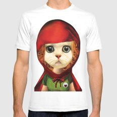 Kitten red riding  MEDIUM White Mens Fitted Tee