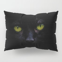 Black Cat Green Eyes Face (Color) Pillow Sham