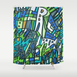 Feel This Real Forever (green) Shower Curtain