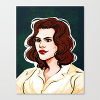 peggy carter Canvas Prints featuring Peggy Carter by Nisie