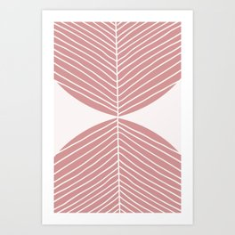 Soft Pink Minimal Fall Leaf Art Print
