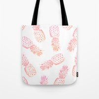 Tote Bags featuring Pink Pineapples by Rui Faria