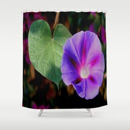 Beautiful Single Morning Glory Flower and Leaf Shower Curtain
