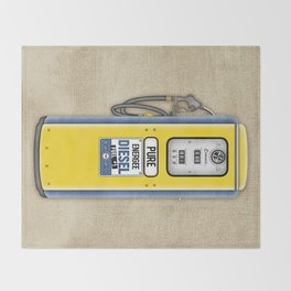 Retro Gas Pump in Navy Blue and Canary Yellow Throw Blanket