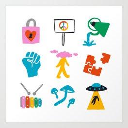 Aquarius Emoji Art Print