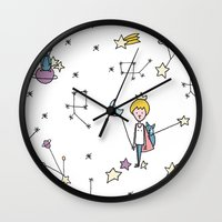 le petit prince Wall Clocks featuring LE PETIT by Ana Depuntillas