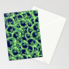 Lime & Navy Watercolor Cells Stationery Cards
