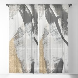 Armor [9]: a minimal abstract piece in black white and gold by Alyssa Hamilton Art Sheer Curtain