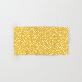 Mustard Yellow and White Polka Dot Pattern Hand & Bath Towel