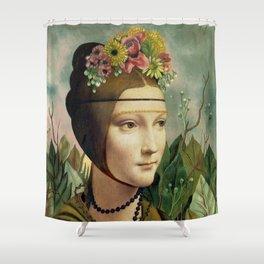 F.K.'s Self Portrait & Leonardo's Lady with a Ermine Shower Curtain