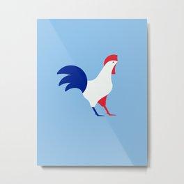 Gallic rooster - France national symbol, flag colors Metal Print