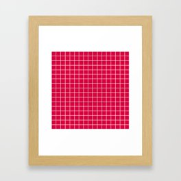 Carmine (M&P) - fuchsia color - White Lines Grid Pattern Framed Art Print