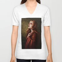 medieval V-neck T-shirts featuring Medieval Woman by Ayu Marques