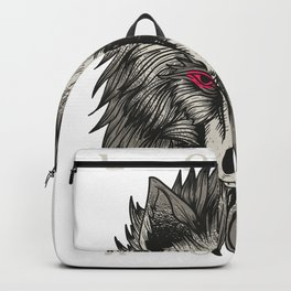 Lone Grey Wolf Canis Lupus Backpack