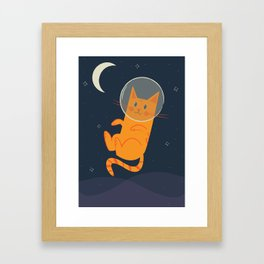Floating Space Cat Framed Art Print