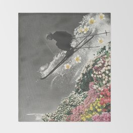 Spring Skiing Throw Blanket