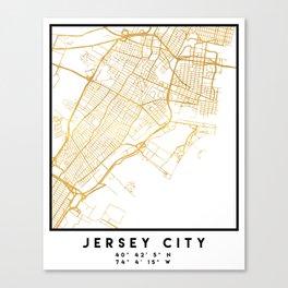 JERSEY CITY NEW JERSEY STREET MAP ART Canvas Print