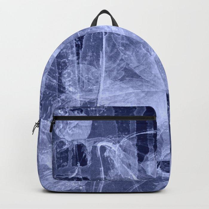blue fozen leaves Backpack