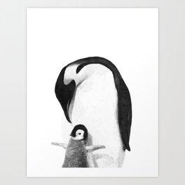 Black and White Penguins Art Print