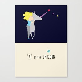 Alphabet Art, U is for Unicorn Canvas Print
