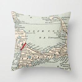 Vintage Cape Cod Map (1893) Throw Pillow