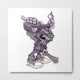Anarchy Skeleton - Amethyst Smoke Metal Print