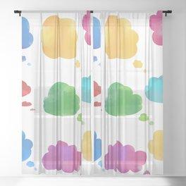 Watercolor cloud speech bubbles collection Sheer Curtain