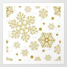 Golden snowflakes Art Print