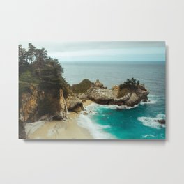 McWay Falls | Big Sur California Waterfall Ocean Coastal Travel Photography Metal Print