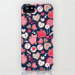 Valentine Sweetness  // navy blue background pink and red cats and candy iPhone Case