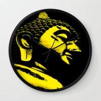 buddah Wall Clocks featuring Buddah Head 01; Gold  by Kether Carolus