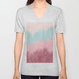 Burgundy blush pink teal watercolor ombre brushstrokes Unisex V-Neck