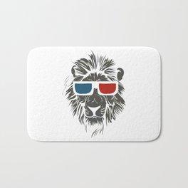 Lion with 3D sunglasses Bath Mat