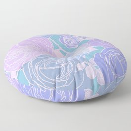 Preppy Purple and Seafoam Green Abstract Contemporary Romantic Roses Floor Pillow