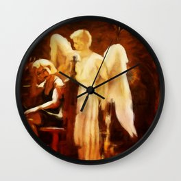 SOLACE Grieving Woman With Angel Wall Clock
