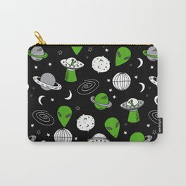 Alien outer space cute aliens french fries rad sodas pattern print black Carry-All Pouch