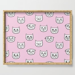 Cat heads in pink Serving Tray