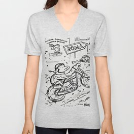 Apes in Vintage Italian Motorcycle Race Unisex V-Neck