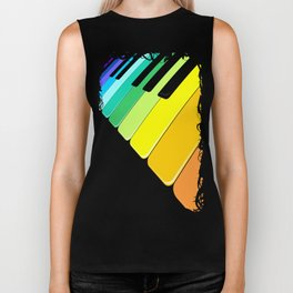 Piano Keyboard Rainbow Colors  Biker Tank